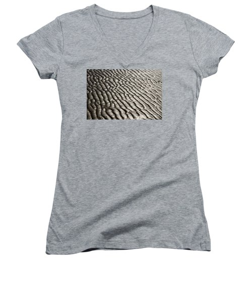Women's V-Neck T-Shirt (Junior Cut) featuring the photograph Beach Sands by Fotosas Photography