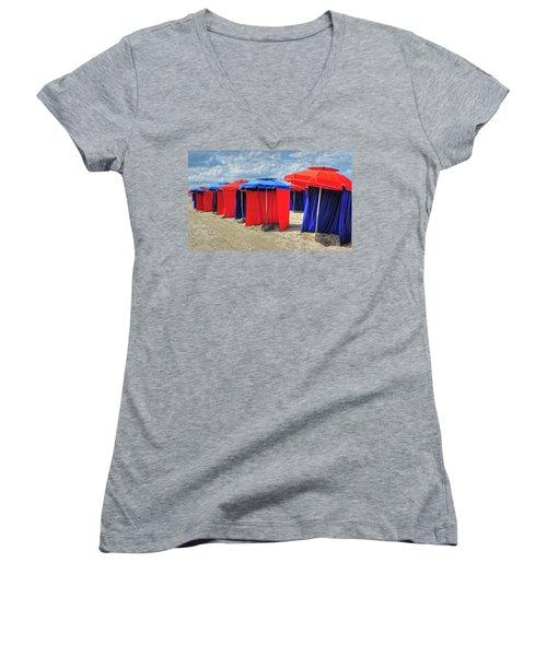 Women's V-Neck T-Shirt (Junior Cut) featuring the photograph Beach Umbrellas Nice France by Dave Mills