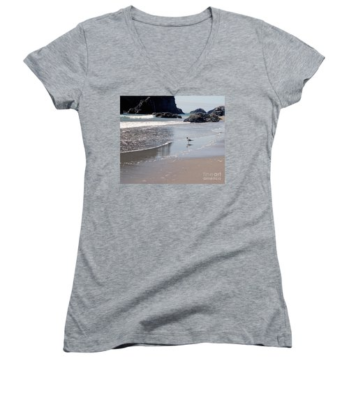 Women's V-Neck T-Shirt (Junior Cut) featuring the photograph Beachcomber by Sharon Elliott