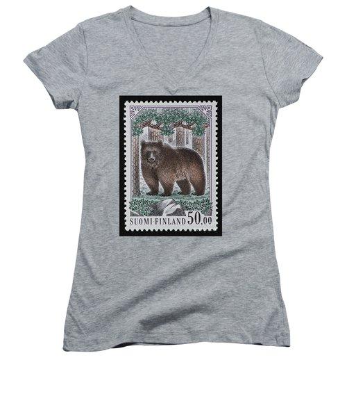 Bear Vintage Postage Stamp Print Women's V-Neck (Athletic Fit)