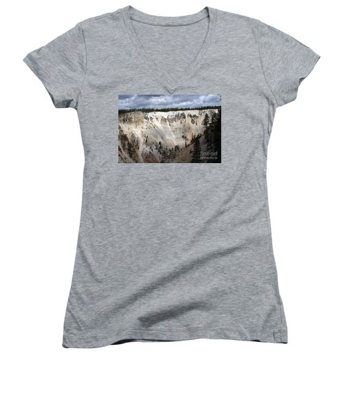Beautiful Lighting On The Grand Canyon In Yellowstone Women's V-Neck T-Shirt (Junior Cut) by Living Color Photography Lorraine Lynch