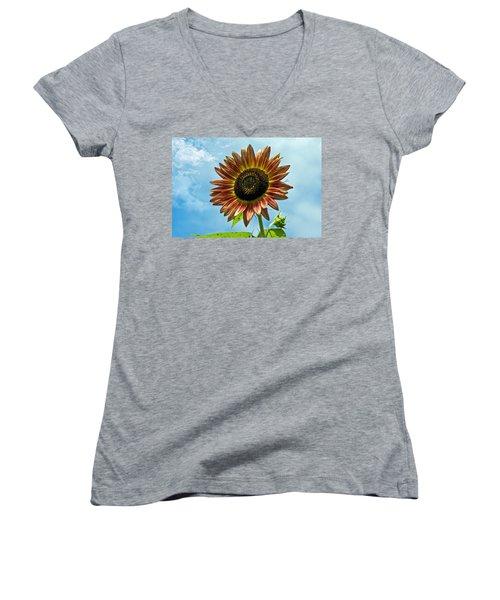 Women's V-Neck T-Shirt (Junior Cut) featuring the photograph Beautiful Sunflower by Susan Leggett