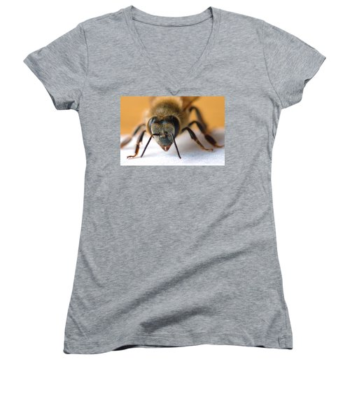 Bee In Macro 4 Women's V-Neck T-Shirt (Junior Cut) by Micah May