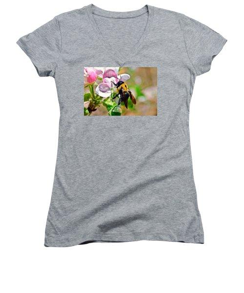 Women's V-Neck T-Shirt (Junior Cut) featuring the photograph Bee On An Apple Blossom by Susan Leggett