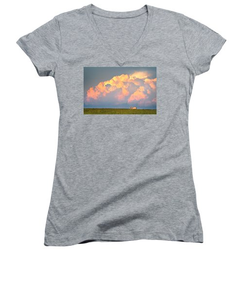 Beefy Thunder Women's V-Neck T-Shirt (Junior Cut) by Brian Duram