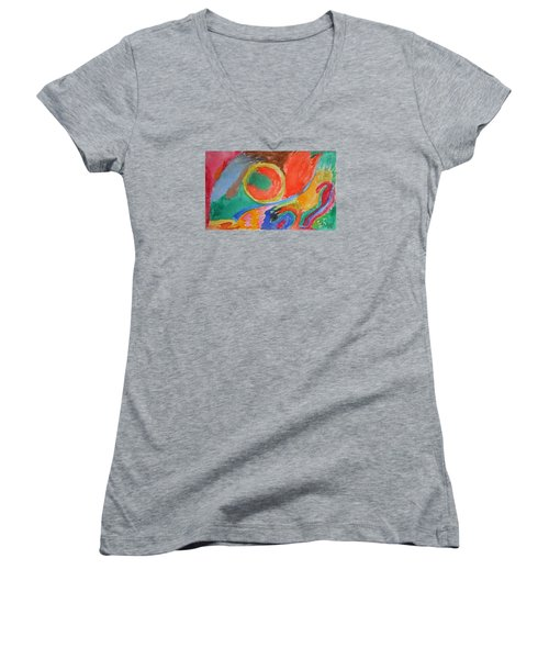 Women's V-Neck T-Shirt (Junior Cut) featuring the painting Before Conception by Francine Frank