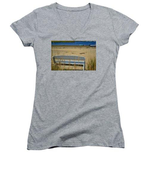 Bench On The Beach Women's V-Neck T-Shirt