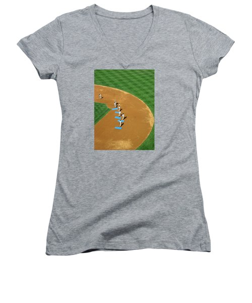 Women's V-Neck T-Shirt (Junior Cut) featuring the photograph Between Innings by Mike Martin