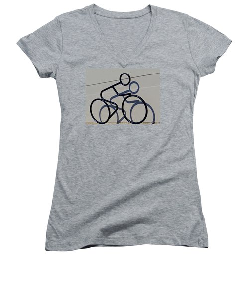 Bicycle Shadow Women's V-Neck T-Shirt