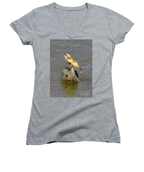 Bigger Fish To Fry Women's V-Neck T-Shirt (Junior Cut) by Robert Frederick