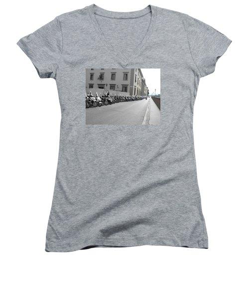 Women's V-Neck T-Shirt (Junior Cut) featuring the photograph Bikes by Laurel Best