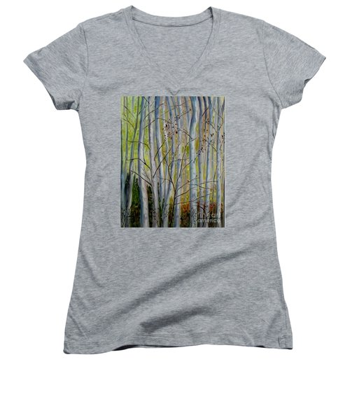 Women's V-Neck T-Shirt (Junior Cut) featuring the painting Birch Forest by Julie Brugh Riffey