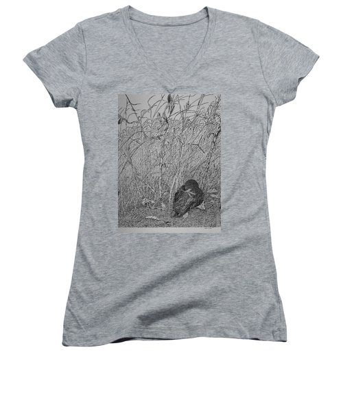 Bird In Winter Women's V-Neck (Athletic Fit)