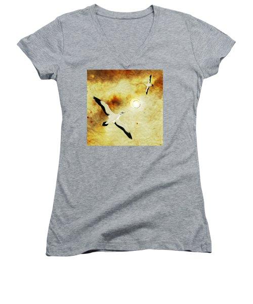 Women's V-Neck T-Shirt (Junior Cut) featuring the digital art Birds Of The Sun by Phil Perkins
