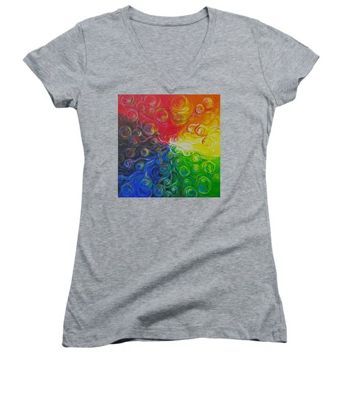 Birth Of Color Women's V-Neck T-Shirt (Junior Cut) by Jeanette Jarmon