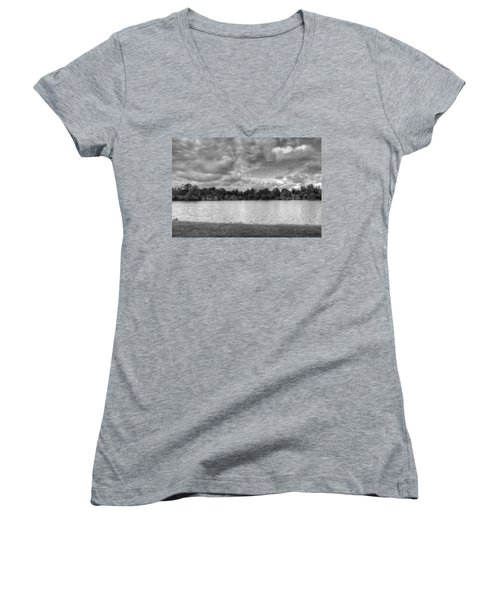 Women's V-Neck T-Shirt (Junior Cut) featuring the photograph Black And White Autumn Day by Michael Frank Jr
