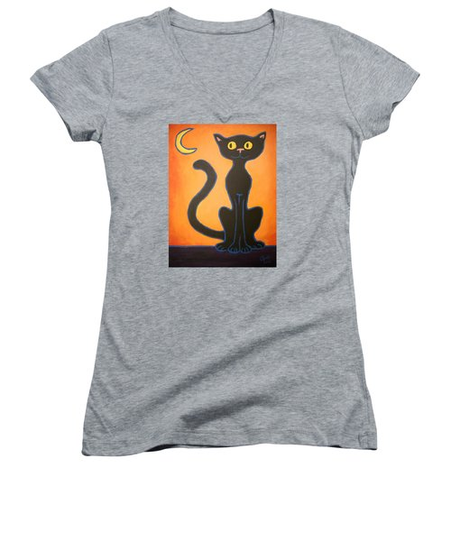 Black Cat Women's V-Neck (Athletic Fit)