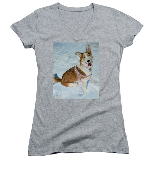 Blue - Siberian Husky Dog Painting Women's V-Neck (Athletic Fit)