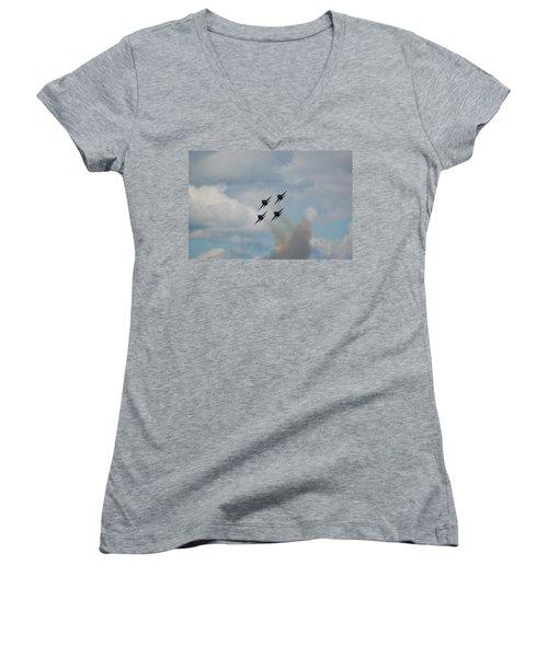 Blue Angels Roaring By Women's V-Neck T-Shirt (Junior Cut) by Randy J Heath