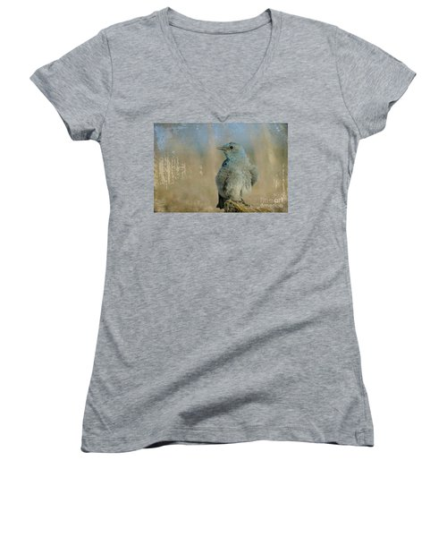 Blue Bird Women's V-Neck T-Shirt (Junior Cut)