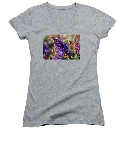 Women's V-Neck T-Shirt (Junior Cut) featuring the photograph Blue Brush Bloom by Tikvah's Hope