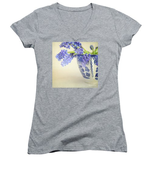 Blue Muscari Flowers In Blue And White China Cup Women's V-Neck T-Shirt (Junior Cut) by Lyn Randle