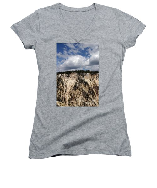Blue Skies And Grand Canyon In Yellowstone Women's V-Neck T-Shirt (Junior Cut) by Living Color Photography Lorraine Lynch