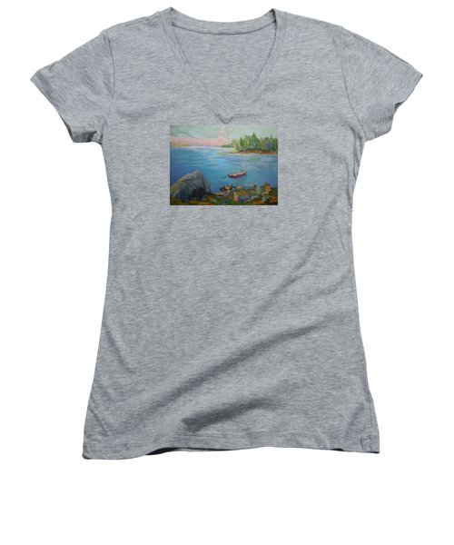 Women's V-Neck T-Shirt (Junior Cut) featuring the painting Boat And Bay by Francine Frank
