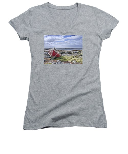 Women's V-Neck T-Shirt (Junior Cut) featuring the photograph Boat by Hugh Smith