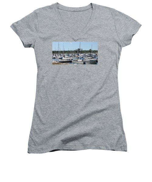 Women's V-Neck T-Shirt (Junior Cut) featuring the photograph Boats At Winthrop Harbor by Debbie Hart