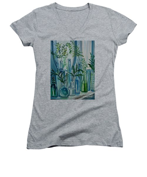 Women's V-Neck T-Shirt (Junior Cut) featuring the painting Bottle Brigade by Julie Brugh Riffey