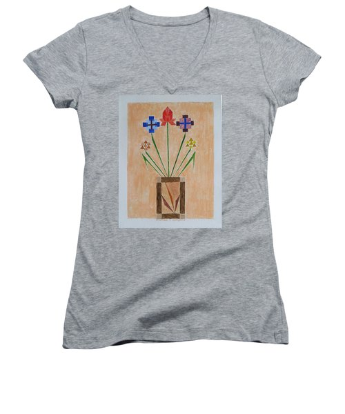 Women's V-Neck T-Shirt (Junior Cut) featuring the painting Bouquet by Sonali Gangane