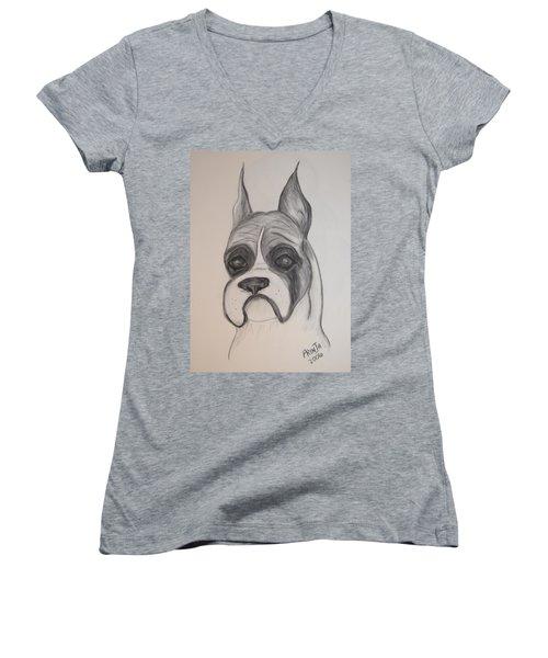 Boxer Women's V-Neck T-Shirt (Junior Cut) by Maria Urso