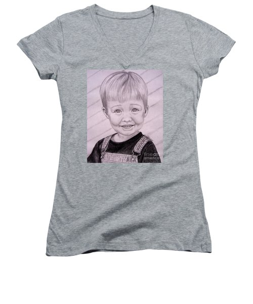 Women's V-Neck T-Shirt (Junior Cut) featuring the drawing Brady by Julie Brugh Riffey