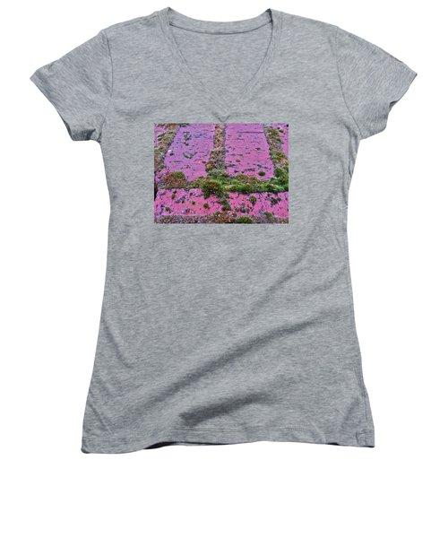 Women's V-Neck T-Shirt (Junior Cut) featuring the photograph Brick Wall by Bill Owen