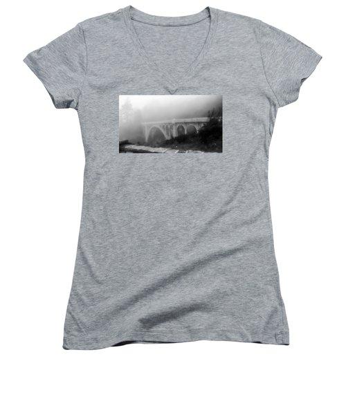 Bridge In Fog Women's V-Neck T-Shirt