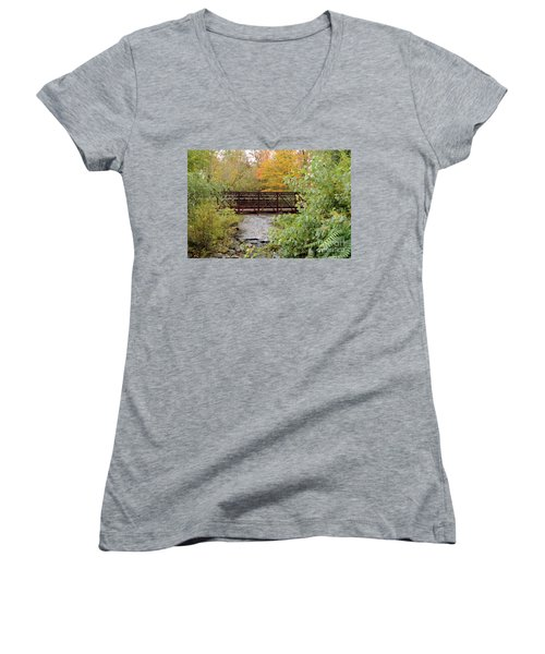 Bridge Over River Women's V-Neck (Athletic Fit)