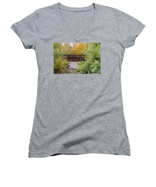 Bridge Over River Women's V-Neck T-Shirt
