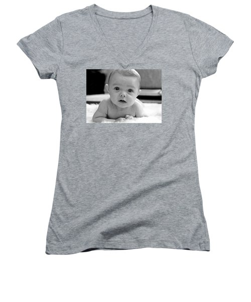 Bright Eyes Women's V-Neck T-Shirt (Junior Cut) by Lisa Phillips
