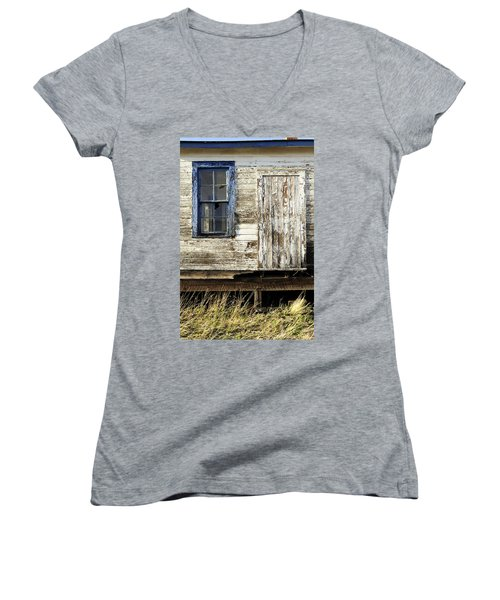 Women's V-Neck T-Shirt (Junior Cut) featuring the photograph Broken Window by Fran Riley