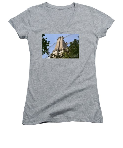 Women's V-Neck T-Shirt (Junior Cut) featuring the photograph Brooklyn Bridge2 by Zawhaus Photography