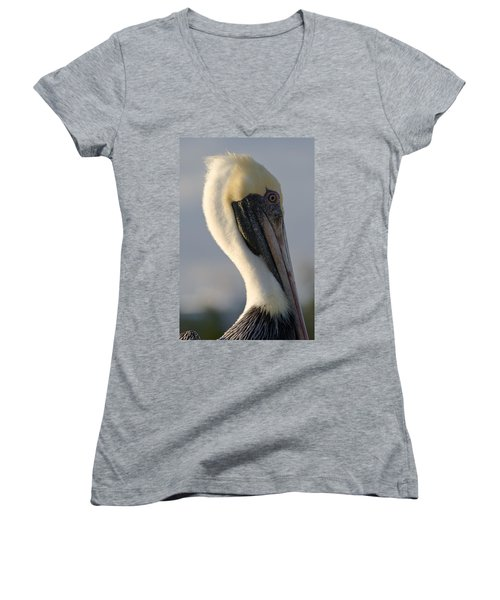 Brown Pelican Profile Women's V-Neck T-Shirt