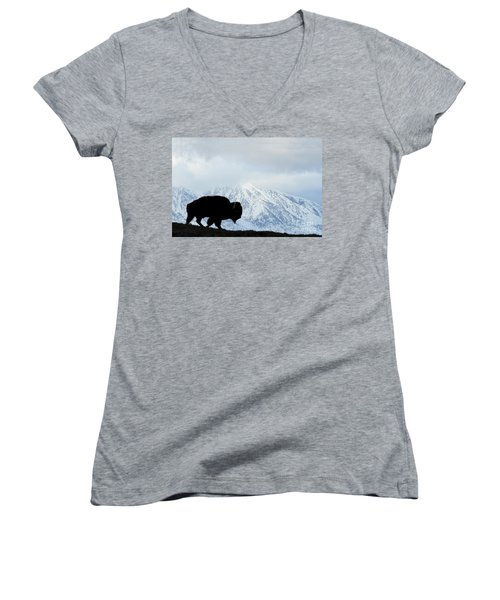 Women's V-Neck T-Shirt (Junior Cut) featuring the photograph Buffalo Suvived Another Yellowstone Winter by Dan Friend