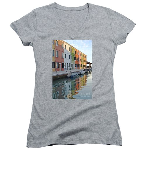 Women's V-Neck T-Shirt (Junior Cut) featuring the photograph Burano Canal by Rebecca Margraf