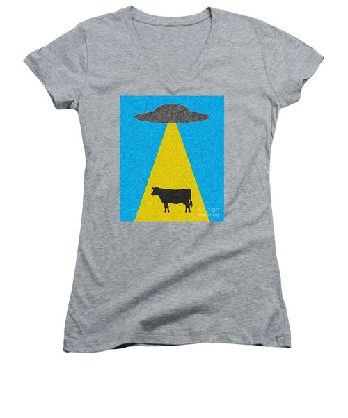 Burger To Go Women's V-Neck T-Shirt (Junior Cut) by Tony Cooper