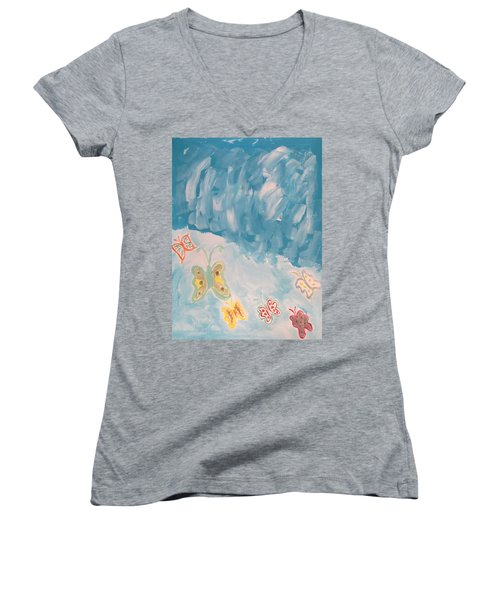 Women's V-Neck T-Shirt (Junior Cut) featuring the painting Butterfly Flight by Sonali Gangane