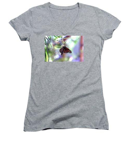 Women's V-Neck T-Shirt (Junior Cut) featuring the photograph Butterfly Meet-up by Tam Ryan