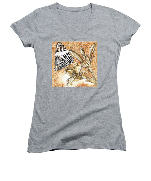Butterfly Mosaic 02 Elena Yakubovich Women's V-Neck T-Shirt (Junior Cut) by Elena Yakubovich