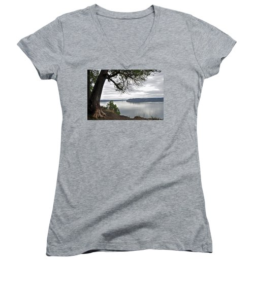 Women's V-Neck T-Shirt (Junior Cut) featuring the photograph By The Still Waters by Tikvah's Hope
