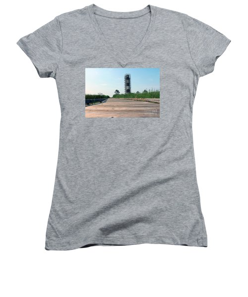 Women's V-Neck T-Shirt (Junior Cut) featuring the photograph Caged Beauty 1 by Tony Cooper
